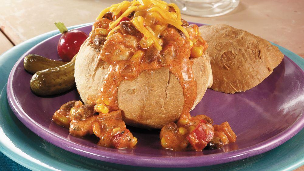 Santa Fe Chicken Bread Bowls