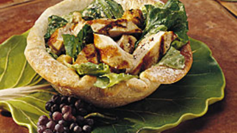 Chicken Caesar Salad in Bread Bowls