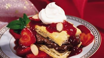 Chocolate-Filled Napoleons with Strawberry Sauce