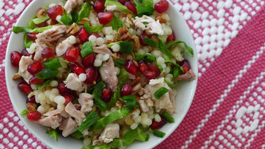 Couscous Salad with Turkey, Brussels Sprouts, Pomegranates and Poblano Peppers