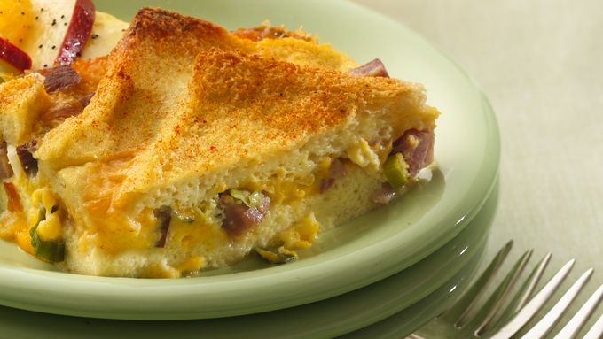 Ham and Cheddar Strata