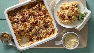 Cheesy Chicken and Bacon No-Boil Pasta Bake