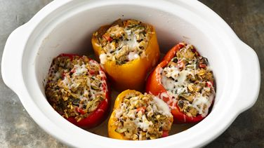 Slow-Cooker Italian Sausage and Farro Stuffed Peppers