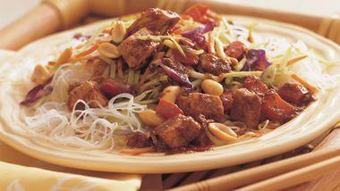 Kung Pao Pork over Sesame Noodles