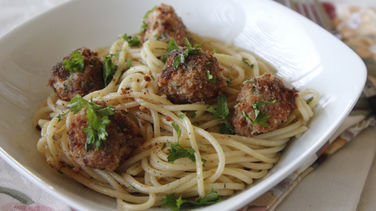 Spaghetti with Shrimp Meatballs