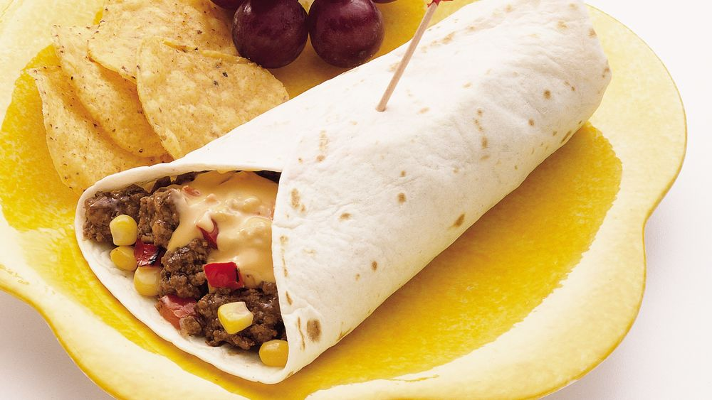 Cheesy Corn and Burger Wraps