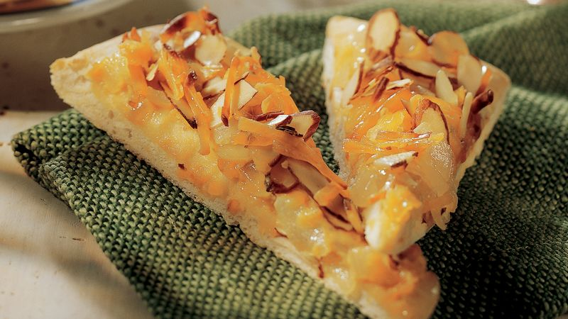 Onion, Cheese and Almond Focaccia