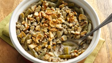 Classic Green Bean Casserole with Baguette Chips