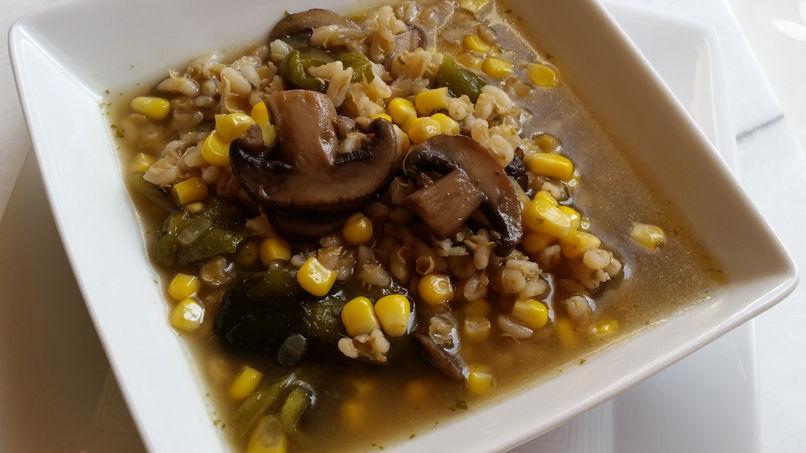 Mushroom, Pearl Onion, Corn, and Poblano Chili Pepper Soup