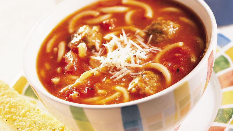 Spaghetti and Meatball Soup recipe from Betty Crocker