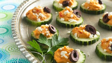 Cucumber-Hummus Stacks