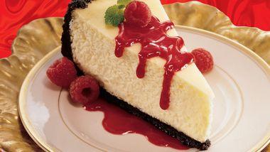 Orange Cheesecake with Raspberry Sauce