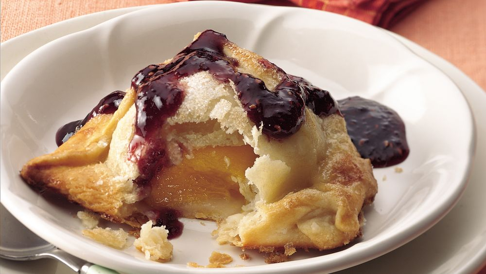 Peach Dumplings with Raspberry Sauce  (Cooking for Two)
