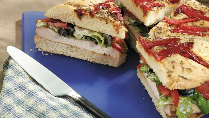 Grilled Chicken Caesar Focaccia Sandwiches