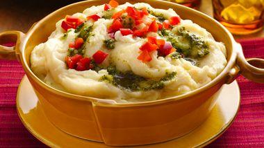 Asiago-Pesto Mashed Potatoes