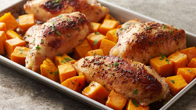 Sheet-Pan Cider-Mustard Chicken with Roasted Butternut Squash
