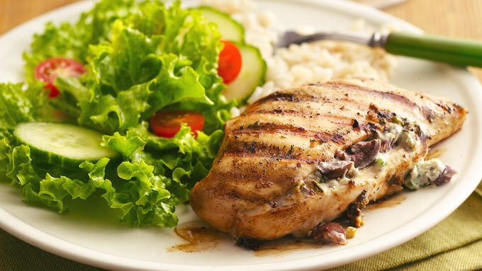 Greek Garlic and Herb-Stuffed Grilled Chicken Breasts