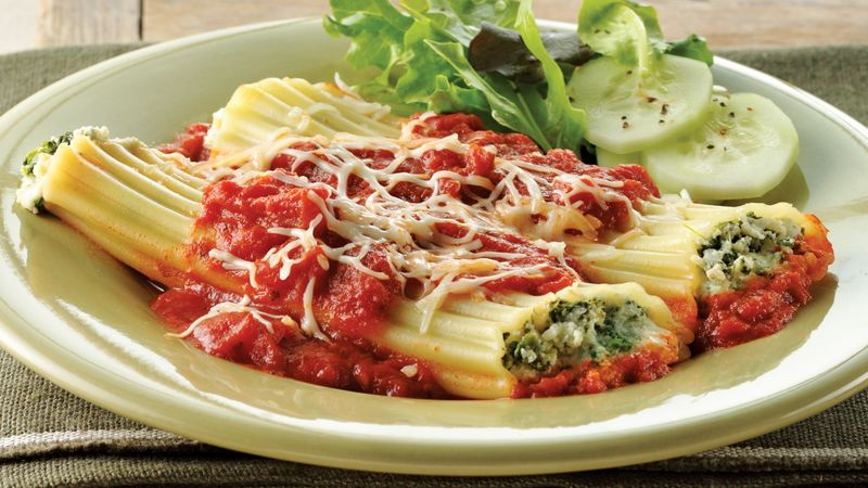 Cheesy Spinach Manicotti