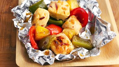 Teriyaki Chicken, Pineapple and Red Pepper Kabobs recipe from