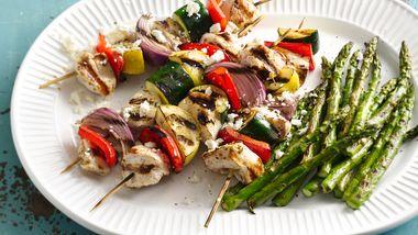 Grilled Mediterranean Chicken Vegetable Kabobs