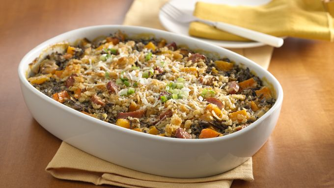Andouille Sausage, Squash and Wild Rice Casserole