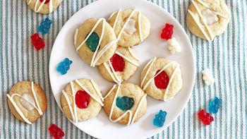 Patriotic Gummy Bear Thumbprint Cookies