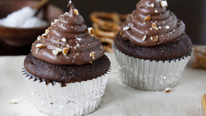 Chocolate Cupcakes with Salted Caramel Center Surprise