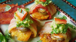 Bacon-Wrapped Tostones with Shrimp and Guacamole