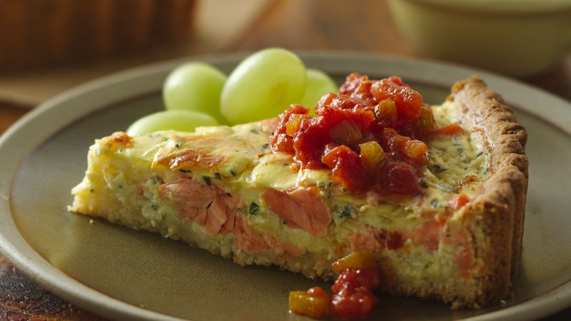 Salmon Quiche With Easy Tasty Tomato Sauce Recipe From