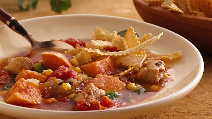Slow-Cooker Southwest Chicken Soup with Baked Tortilla Strips