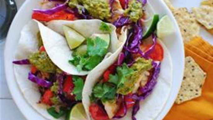 Fish Tacos with Chimichurri Sauce