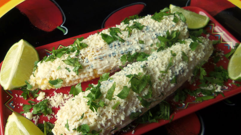 Grilled Corn with Lime Crema, Cotija Cheese & Cilantro