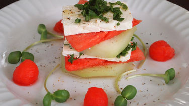 Watermelon, Chayote Squash and Feta Terrine