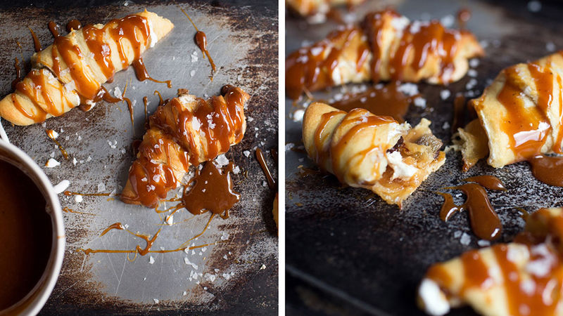 Salted Caramel-Marshmallow Creme Crescents