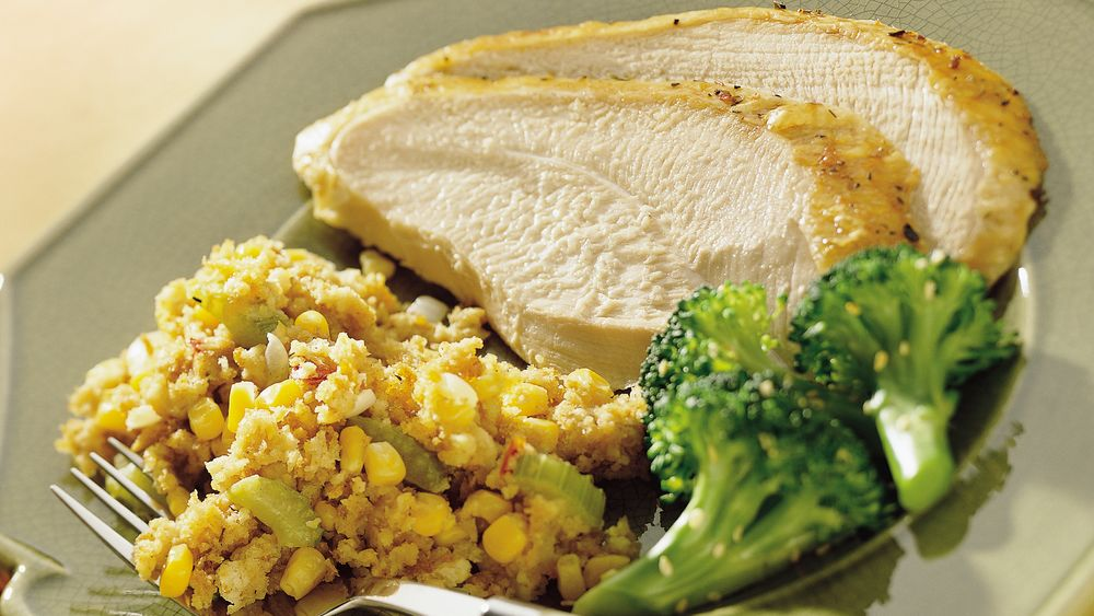 Turkey Breast with Cheesy Cornbread Stuffing