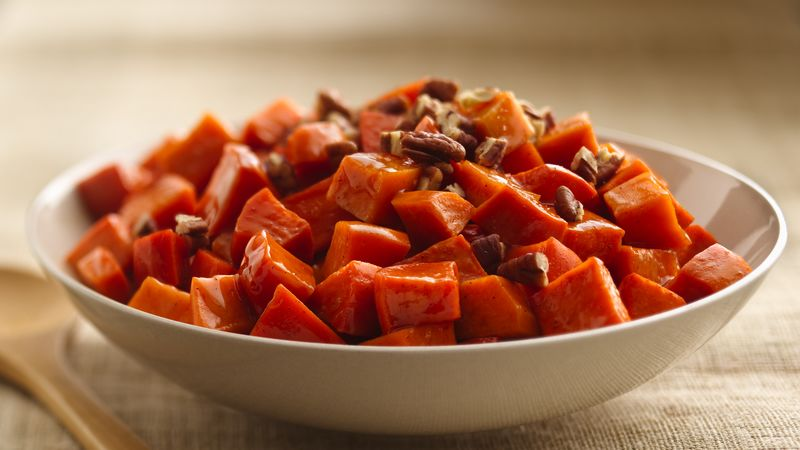 Maple Pecan-Glazed Sweet Potatoes recipe from Betty Crocker