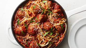 Skillet Zoodles and Meatballs