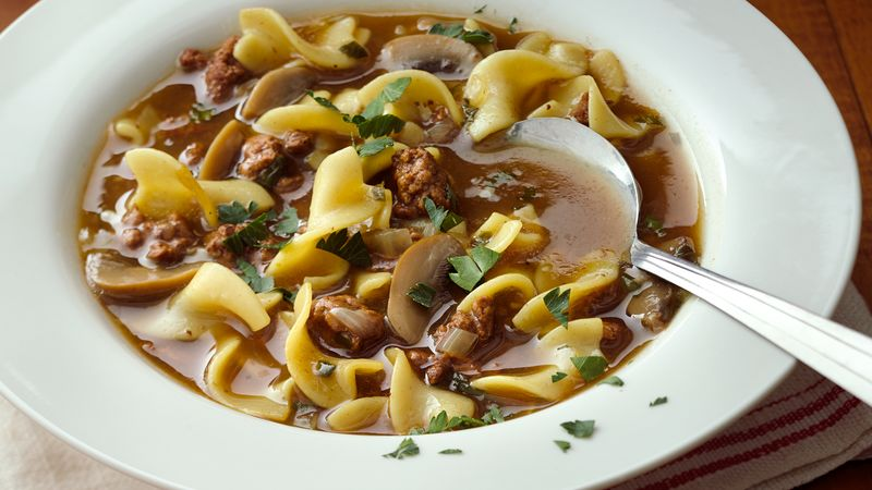 Easy Beef and Pasta Soup recipe from Betty Crocker