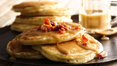 Bacon Pancakes with Maple-Peanut Butter Syrup