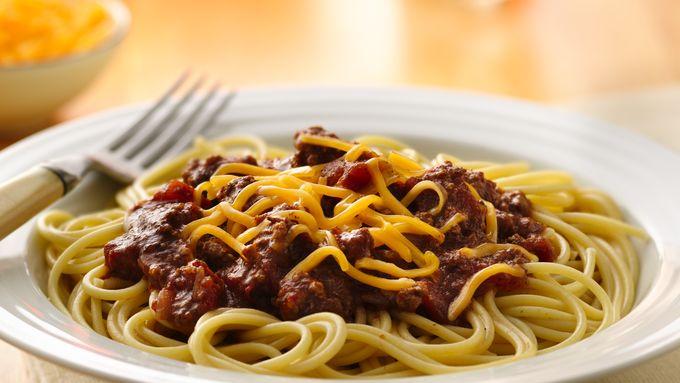 Slow-Cooker Chili Over Spaghetti