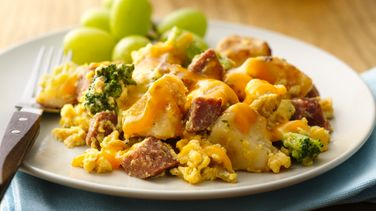 Broccoli, Potato and Chorizo Scramble