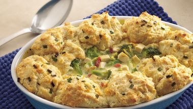 Chicken and Broccoli Casserole with Cheesy Biscuit Topping