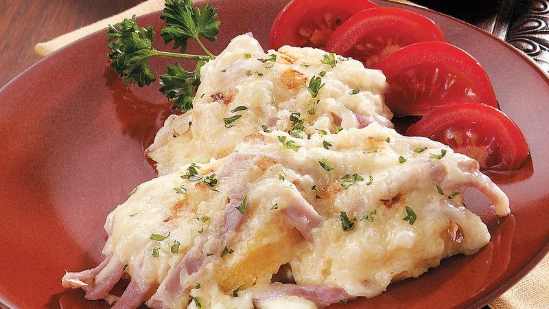 Cheesy Polenta and Ham Gratin