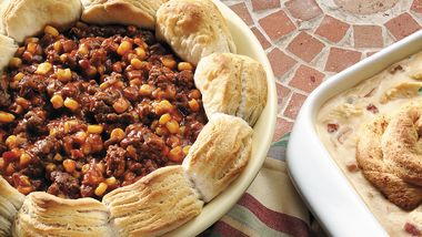 Sloppy Joe Casserole with Biscuits