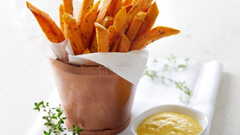 Fried Sweet Potatoes with Salsa Huancaína