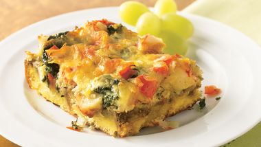Crab and Spinach Strata