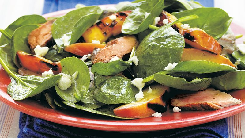 Grilled Pork and Nectarine Spinach Salad