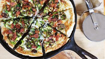 Cast Iron Skillet Brussels Sprouts and Bacon Pizza