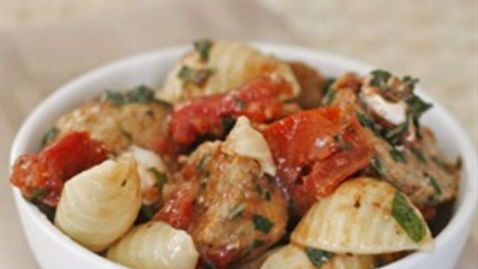 Tomato Basil Shells with Turkey Meatballs