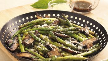 Grilled Parmesan Asparagus and Mushrooms